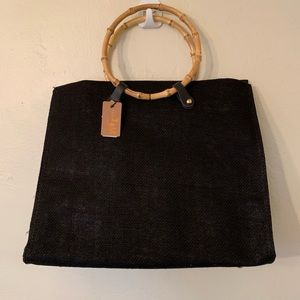 Black summer tote with bamboo handles